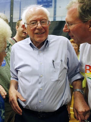 Sen. Bernie Sanders, I-Vt., greets supporters after speaking during a town hall meeting at Nashua Community College in Nashua, N.H., on June 27, 2015.
