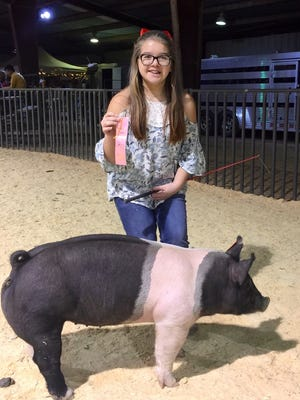 Landry Maydon took fourth place with her pig, Lucy, at the Williamson County Expo Stock Show. She is the daughter of David and Jennifer Maydon, of Leander, and the granddaughter of John and Mary Matthews, of Abilene.