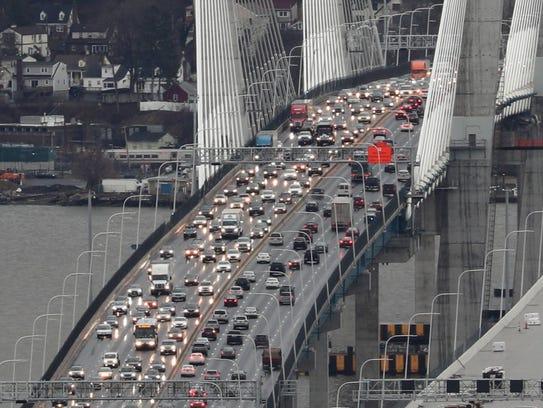 Traffic is seen on the Gov. Mario M. Cuomo Bridge on