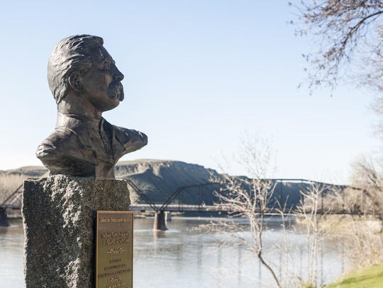 Thomas Meagher's bust stands along the Missouri River