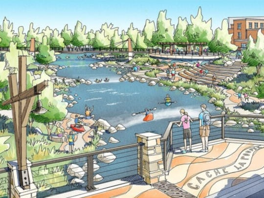 A rendering of the city's Poudre River Downtown draft master plan.