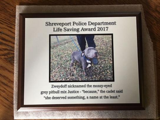 An award gifted to Natalie Zweydoff, a police cadet,