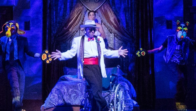 """The Dead Body of Uncle Anthony (played by Tim Shawver) comes back to life during a dream sequence in Arizona Broadway Theatre's production of """"Lucky Stiff."""""""