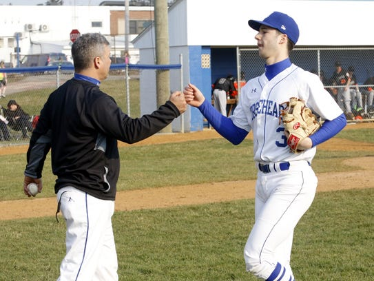 Horseheads coach Jeff Limoncelli greets his son, Mike