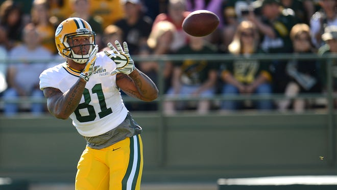 Green Bay Packers tight end Andrew Quarless (81) during training camp practice at Ray Nitschke Field on Saturday, Aug. 1, 2015.