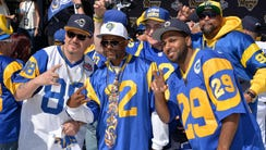 Los Angeles Rams fans pose at 2016 NFL Draft Party