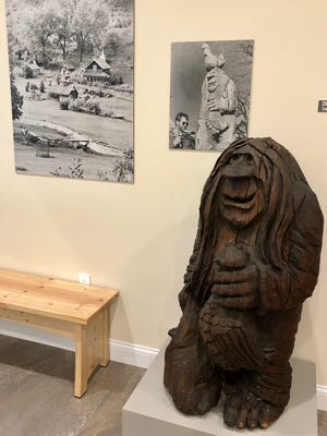 The first troll carved by Michael Feeney is on display in the Driftless Historium.