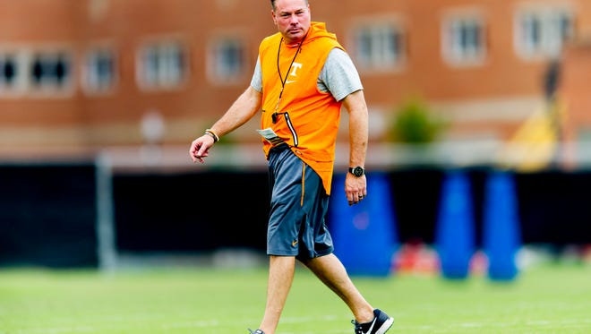 Tennessee Head Coach Butch Jones during Tennessee fall football practice at Anderson Training Facility in Knoxville, Tennessee on Tuesday, October 10, 2017.