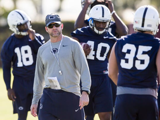Penn State defensive coordinator Brent Pry looks on during practice held at the StubHub Center in Los Angeles, Calif. on Wednesday, Dec. 28, 2016. Penn State plays Southern California in the Rose Bowl NCAA college football game on Jan. 2. (Joe Hermitt/PennLive/The Patriot-News via AP)