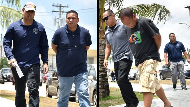 In this combined image, Nicolas T. Dela Cruz, left and Mark Duenas Cruz are escorted to the Guam Police Department Hagatna precinct upon their arrests on Wednesday, April 20.