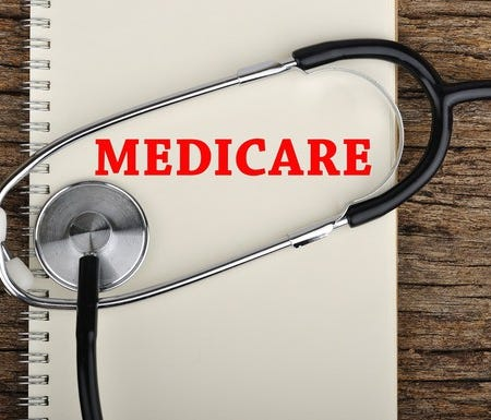 Notebook labeled Medicare on a wood desk with a stethoscope on top.