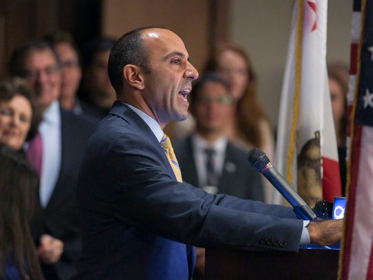 Jimmy Panetta speaks with supporters at a campaign rally at the Casa Munras Hotel after being elected to the U.S. House of Representatives on Tuesday, November 8, 2016 in, Pacific Grove, Calif.