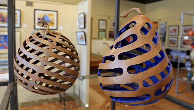 Gourd art by Evie Atkin can be found in the Southern Utah Art Guild's Arrowhead Gallery at the Electric Theater Center in St. George.