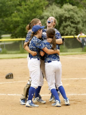 Horseheads players celebrate after getting the final out Saturday during their 9-8 win over Corning in the Section 4 Class AA championship game at the BAGSAI Complex.