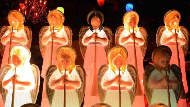 Angels are only a part of the Christmas display at the Feinbergs' home in Colchester in this file photo.