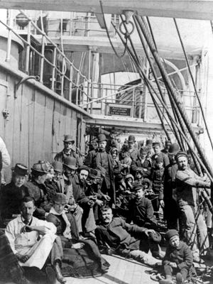 Immigrants pack into the crowded lower deck of a ship bound for America, circa 1890. The Irish came to the United States in waves during the 19th century, especially during the potato famine of 1845-52.