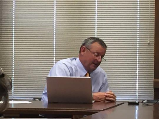 County Mayor Jim Durrett talks to the budget committee