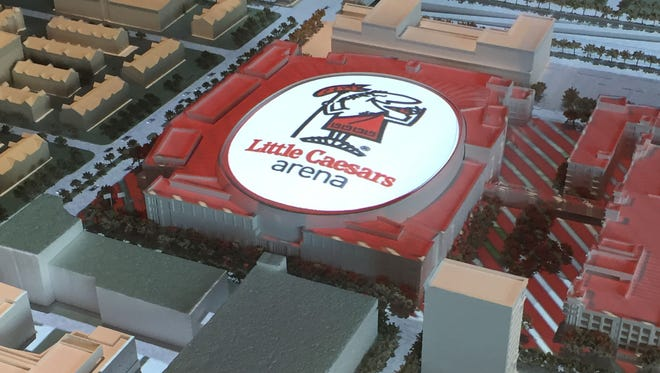 A model of Little Caesars Arena.