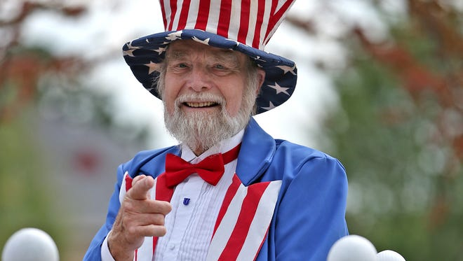 Earl Lott is Uncle Sam at the Fishers Freedom Festival Parade, Sunday, June 28, 2015.