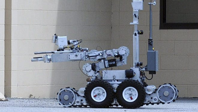 A Remotec Andros F6A bomb-disposal robot is used during an exercise by the Navy Explosive Ordnance Disposal Mobile Unit 6 in Mayport, Fla., on Feb. 22, 2013.