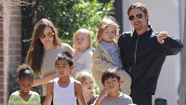 Angelina and Brad with kids