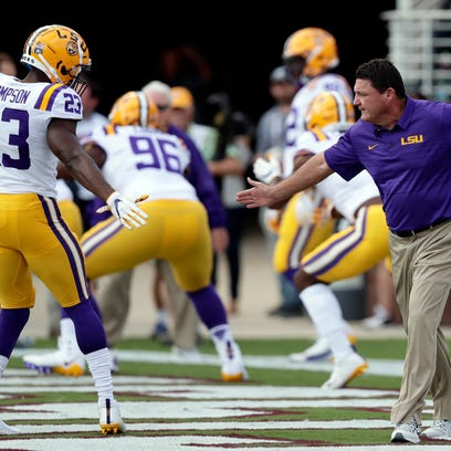 LSU head coach Ed Orgeron reaches out to LSU linebacker