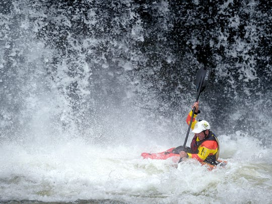 Eric Jackson kayaks at Twin Falls at Rock Island State Park.