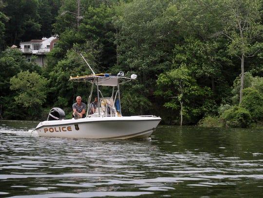 A Croton Police Department boat patrols the Croton