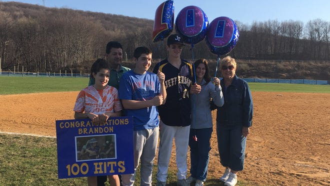 Senior outfielder Brandon Magnotta became the third Jefferson player with 100 career hits on Wednesday.