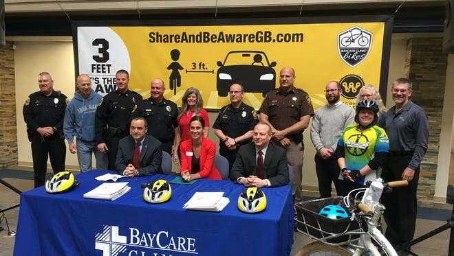 Green Bay city and area public safety officials joined BayCare Cinic, Live 54218 and Wisconsin Bike Fed officials to launch a public education effort aimed at cyclists and motorists.