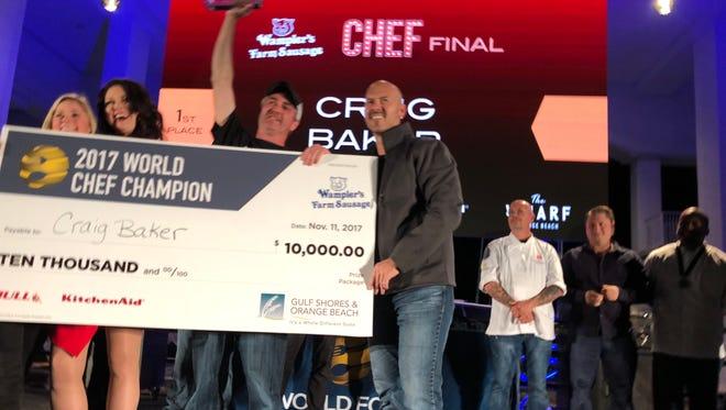 Indianapolis chef Craig Baker of Bent Rail Brewery celebrates his World Food Championships semi-final win Nov. 11, 2017, in Orange Beach, Ala.