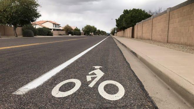 A designated bike lane on North 87th Avenue in Peoria.