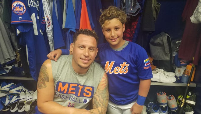 Asdrubal Cabrera with his 10-year-old son Meyer.
