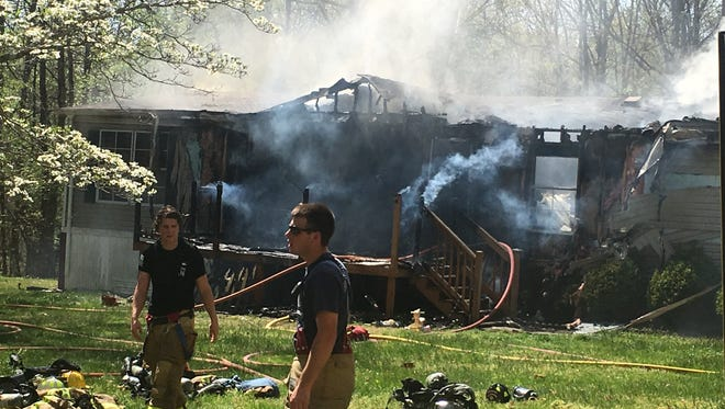 A fire destroyed a double-wide mobile home in Grottoes on Wednesday.