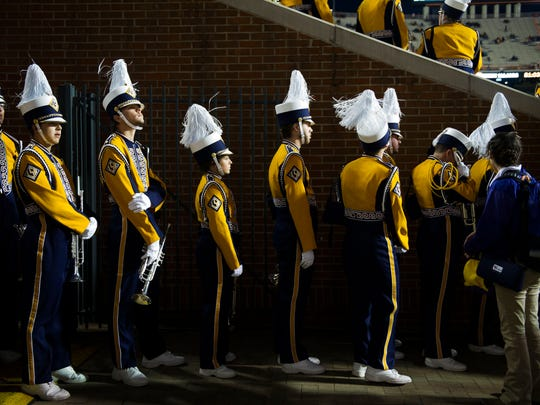 LSU's tiger band lines up to file into the stadium before a game between Tennessee and LSU at Neyland Stadium in Knoxville, Tenn., on Saturday, Nov. 18, 2017.