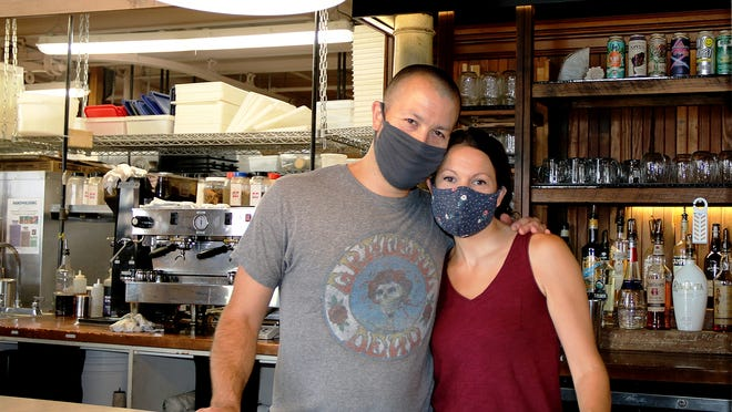 Husband-and-wife owners of BirchTree Bread Co. Rob Fecteau and Avra Hoffman at their bakery in Worcester.