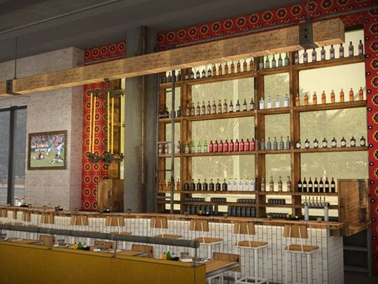 A rendering of the bar planned at Nada Nashville..