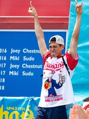 Darron Breeden placed  second at the Sept., 2017, Trenton Thunder competition, eating 33 pork rolls.