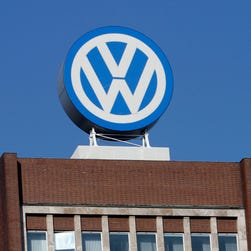 The Volkswagen logo is photographed at the company's headquarters at the Volkswagen plant in Wolfsburg, Germany.