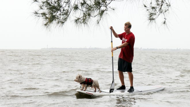 Roy Massey, of Ace Performers, paddleboards the Sanibel causway.