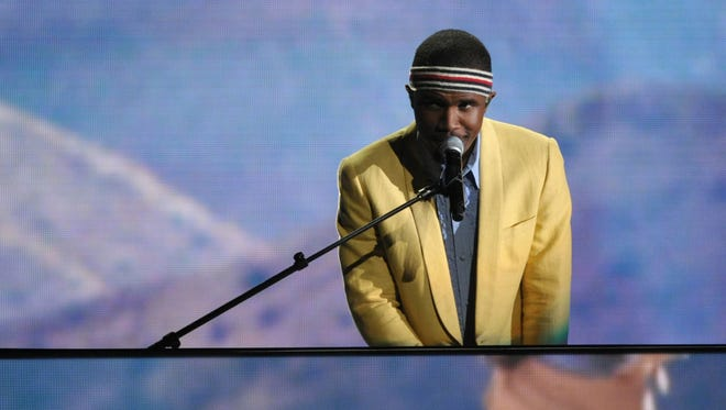 In this February 2013 file photo, Frank Ocean performs on stage at the 55th annual Grammy Awards in Los Angeles.