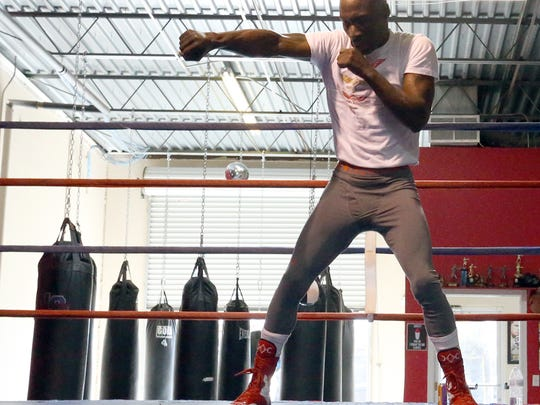 DeMarcus Corley works out Sunday at Warriors Edge Boxing, 3465 Lee Blvd. Suite 233.