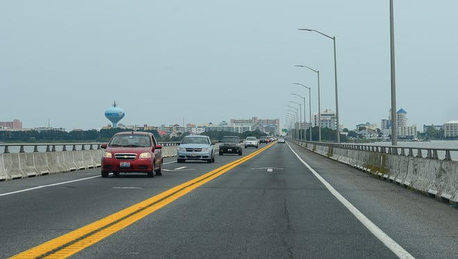 Cars cross the Rt. 90 bridge exiting Ocean City on Thursday, June 22, 2017.