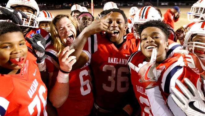 Oakland players celebrate a 43-0 win over Cookeville in the Class 6A state quarterfinals last week.