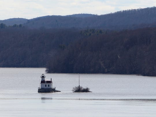 The Esopus Meadows lighthouse in the Hudson River as seen from the Linwood Spiritual Center in Rhinebeck April 5, 2017.
