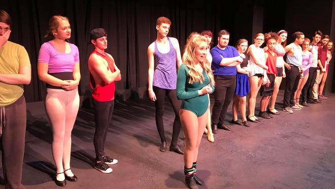 """Katelyn Miller, foreground,  with the cast of """"A Chorus Line."""""""