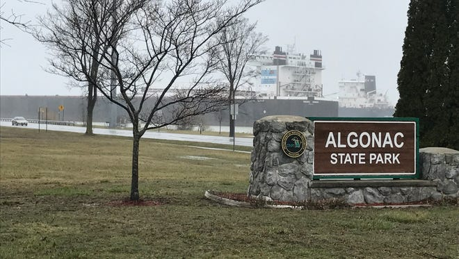 The Indiana Harbor is stopped along the St. Clair River and Algonac State Park Thursday afternoon in a designated anchorage area, waiting out the day's inclement weather, as the Algoma Enterprise passes up bound behind her.