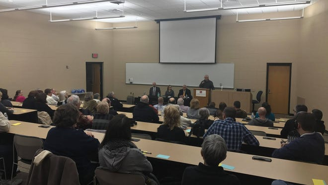 Marshfield mayoral candidates Tom Witzel, Rebecca Spiros and Bob McManus participate in an open forum Wednesday, Feb. 7 at UW- Marshfield/Wood County