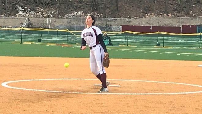 Verona's Christina Colon throws a pitch against Cedar Grove.