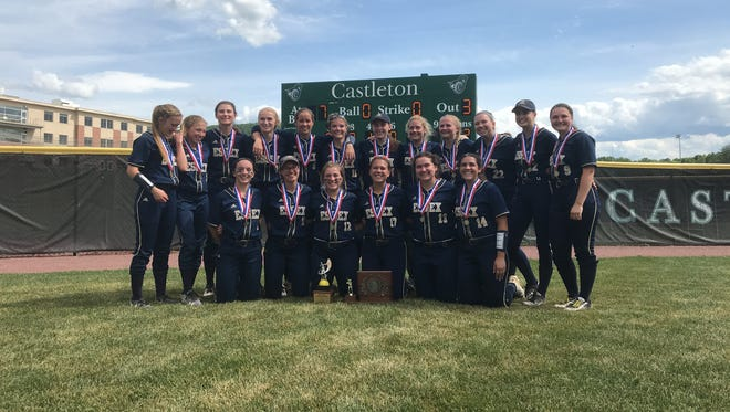 Essex softball poses with the Division I championship trophy after knocking off Mount Anthony on Saturday at Castleton University.